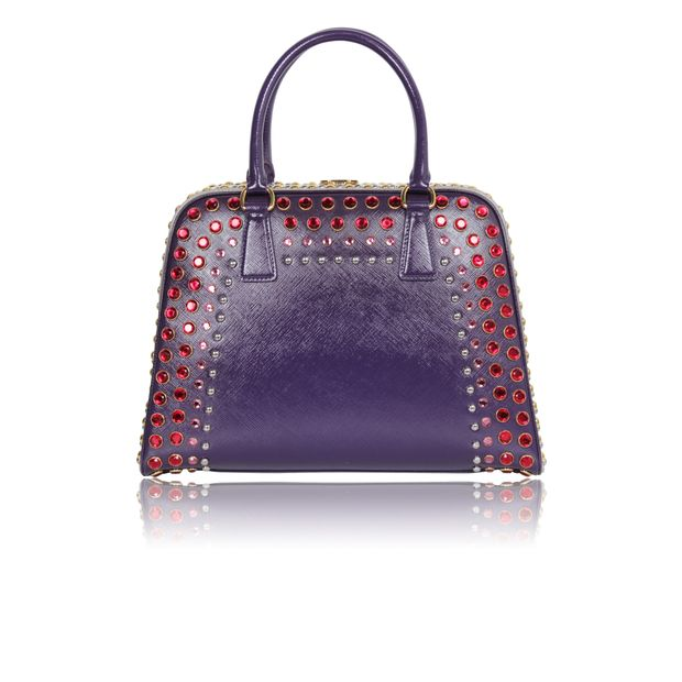 1fef59267c85 ... promo code for prada prada saffiano vernice embellished frame pyramid top  handle bag limited runway edition