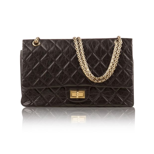 Black Leather Double Flap Reissue 227 Shoulder Bag by CHANEL ... a3d1dce9d2