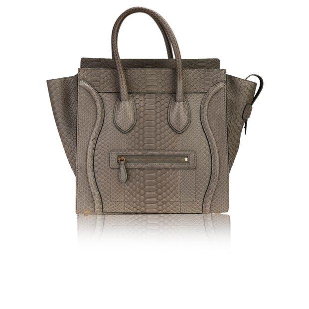 f0af0a9e5fc1 Celine Grey Python Mini Luggage Tote Bag by CÉLINE