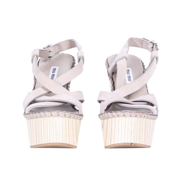 a9cbceb8c08 MIU MIU Suede and Wood Buckle Strap Wedge Sandals 1 thumbnail