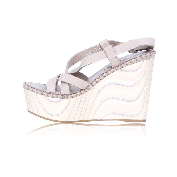 afdbf565d69 Suede and Wood Buckle Strap Wedge Sandals by MIU MIU