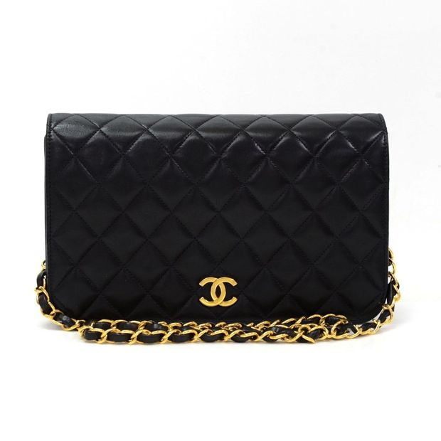 Black Quilted Leather Shoulder Flap Bag by CHANEL  a545767e53