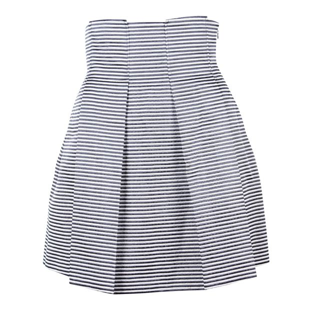 EMPORIO ARMANI Black White and Gold Striped Skater Skirt 0 thumbnail cc5f49e77132