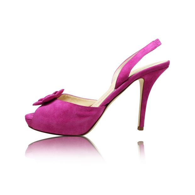 Purple Suede With Flower Detail Peep Toe Sandals By Kate Spade