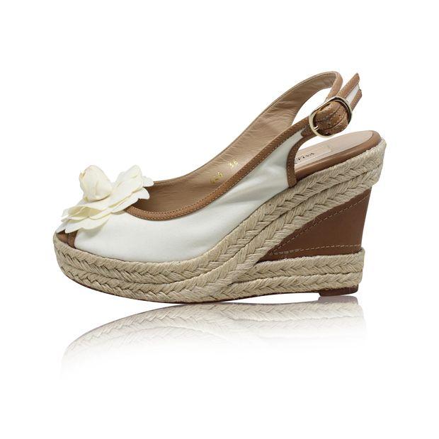White Espadrille Wedge Sandals With Flower Piece By Valentino