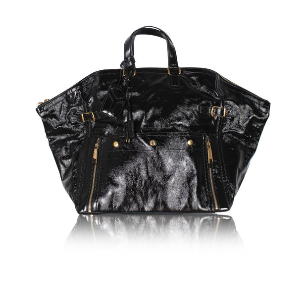 30082099916 Large Black Patent Leather Tote by YVES SAINT LAURENT   StyleTribute.com