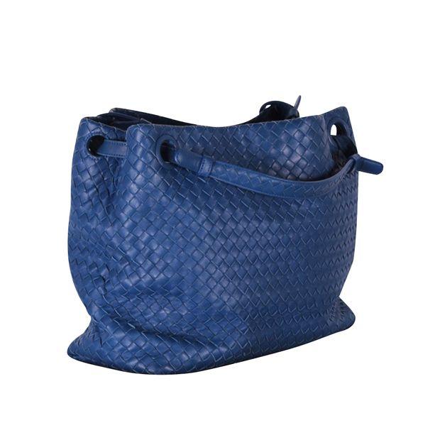 bb35b099df BOTTEGA VENETA Intreciatto Blue Leather Shoulder Bag 2 thumbnail