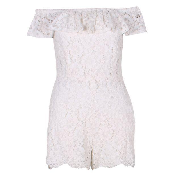 1d63cc2bb39f White Lace Jumpsuit with Bateau Neck by SANDRO