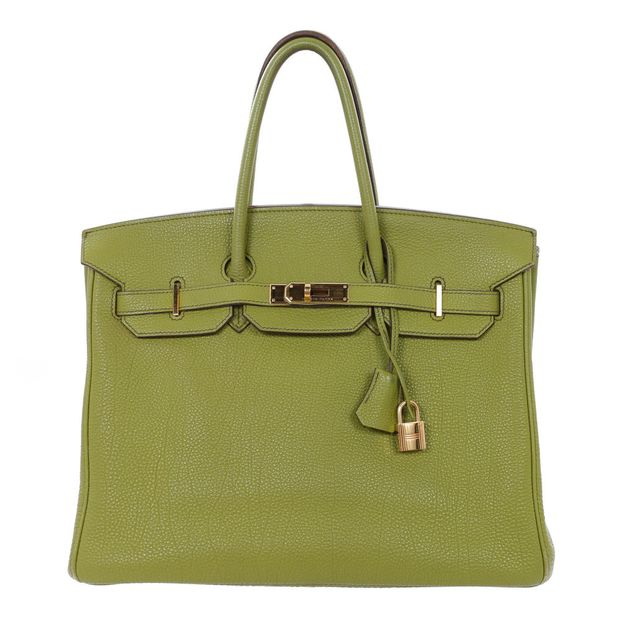 6750a420697 Lime Green Togo 35cm Birkin Bag by HERMÈS | StyleTribute.com