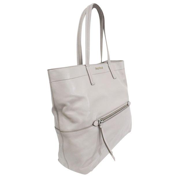 MIU MIU Prada Vitello Soft Argilla Grey Calfskin Leather Tote 2 thumbnail 9a2f4906035fb