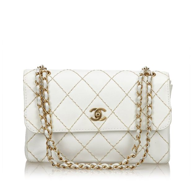 Surpique Leather Flap Bag by CHANEL  84b89827a2