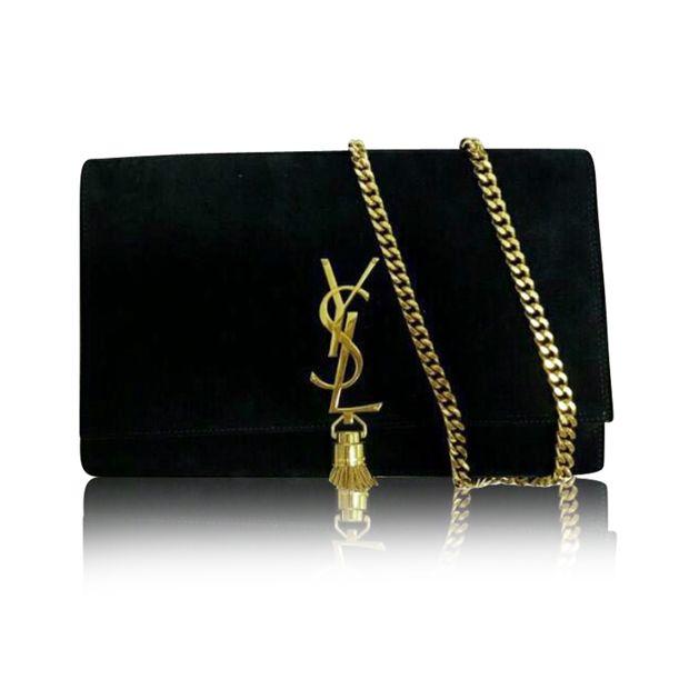 4c51099427d Black Suede Mono Sling Bag by YVES SAINT LAURENT   StyleTribute.com