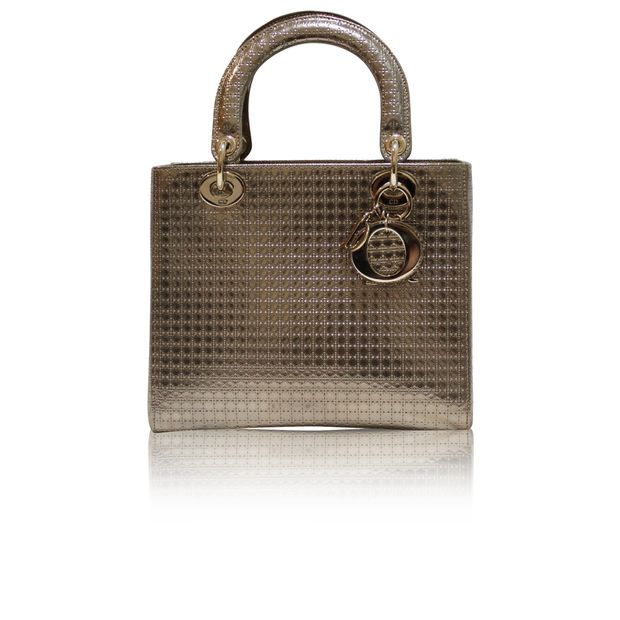 f1a434676a0c DIOR Lady Dior Bag in a champagne metallic calfskin (Limited Edition) 0  thumbnail