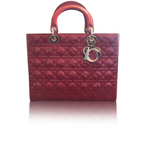 6c913a88e32 DIOR Lady Dior Bag in Red Patent 0 thumbnail