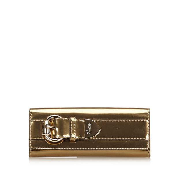 0a9b49347b1d27 Patent Leather Romy Clutch Bag by GUCCI | StyleTribute.com