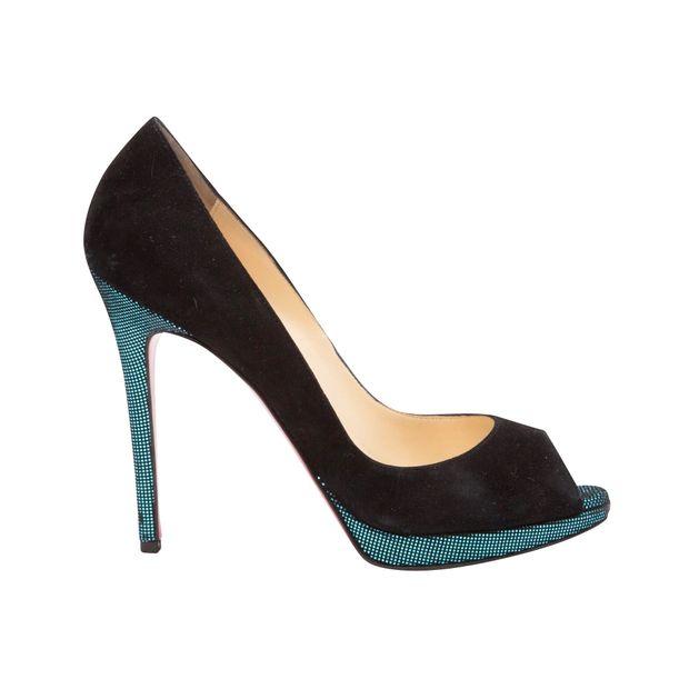 CHRISTIAN LOUBOUTIN Peeptoe Suede 120 Black with Emerald Metallic Green  Heels ... ac5eb53e443c