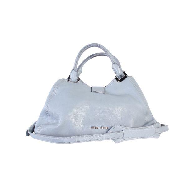 MIU MIU Grey Blue Leather Bag 2 thumbnail 9fee3580646c5