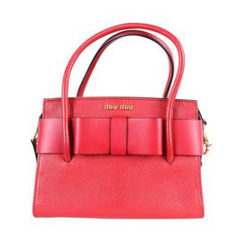Red Madras Bauletto Fiocco Handbag With Bow by MIU MIU ... 9e466ddb379b5