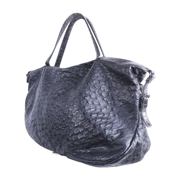 BOTTEGA VENETA Ostrich Crocodile Shoulder Bag in Black 1 thumbnail 8fe4bae12672