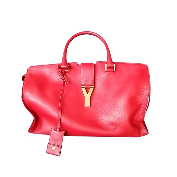 0e765300ad66 Classic Cabas Y Tote In Red by YVES SAINT LAURENT