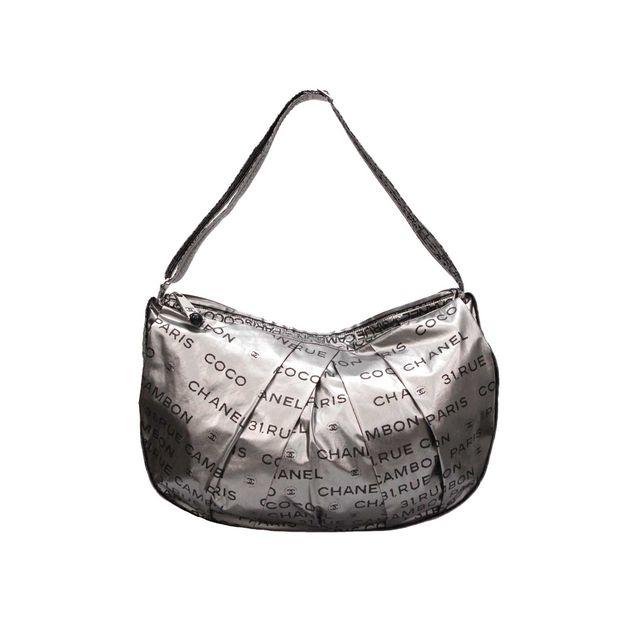 84661f8ed51f CHANEL Metallic Nylon Logo Shoulder Bag CHANEL Metallic Nylon Logo Shoulder  Bag zoomed