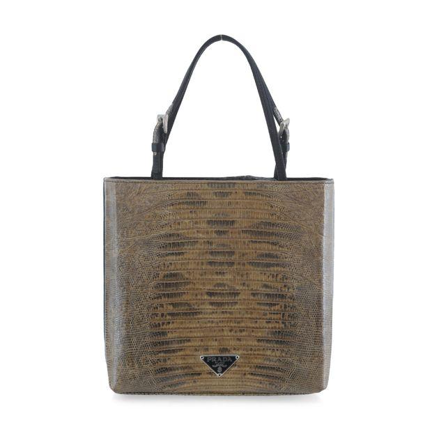 413dd8c72e9 Lizard Leather Mini Tote Bag by PRADA   StyleTribute.com
