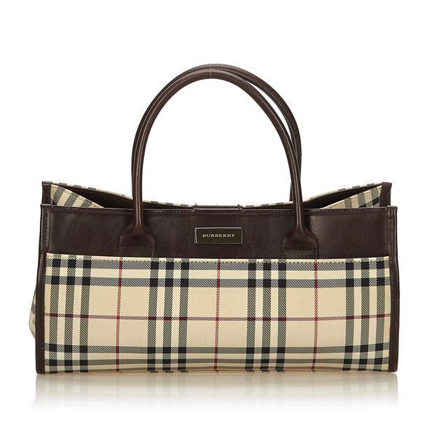 6225d2dd59e5 Plaid Canvas Handbag by BURBERRY