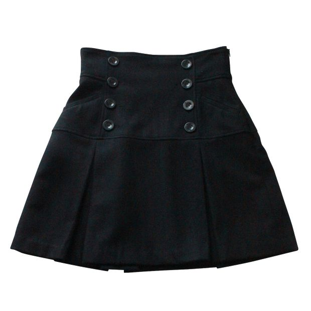 ffb92ae7c79 Black College Style Skirt by WAREHOUSE