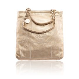 c0102dfef0b VERSACE Single Sling Gold Chain Backpack. S 675. VERSACE Metallic Suede  Shopper Tote