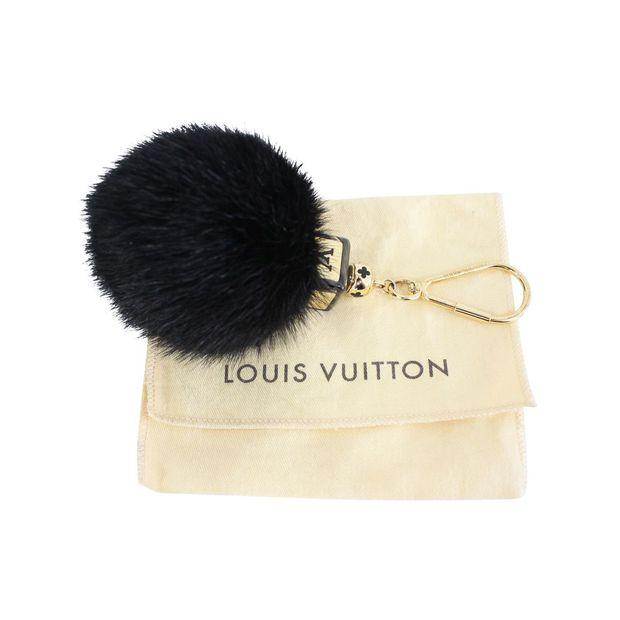 Black Fluffy Mink Fur Pompom Bag Charm   Key Chain by LOUIS VUITTON ... bcd28a6c05ce