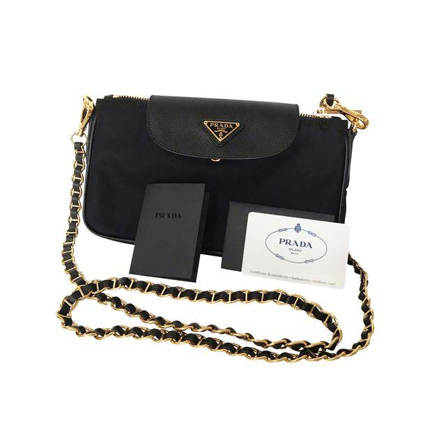 PRADA Prada Tessuto Saffiano Bandoliera black chain bag 0 thumbnail 4587e1020f6fd