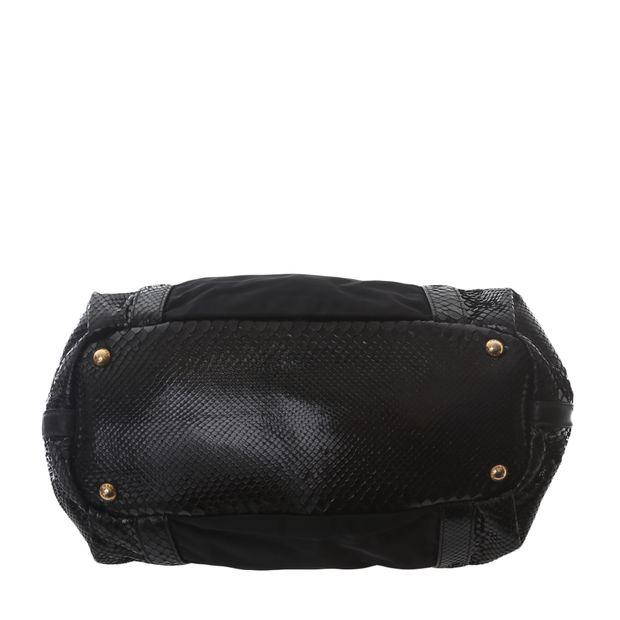 PRADA Tessuto And Patent Snakeskin Handbag 4 thumbnail 474e88cfd0