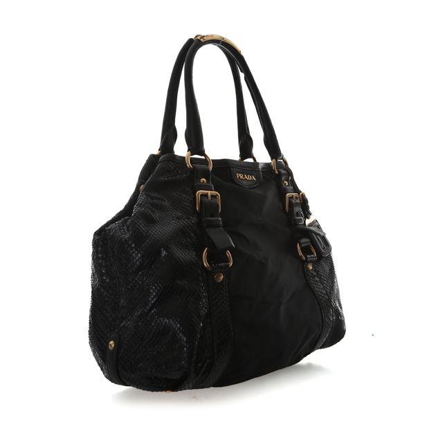 PRADA Tessuto And Patent Snakeskin Handbag 3 thumbnail d7bebe0a58