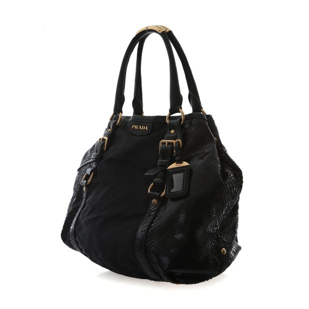 PRADA Tessuto And Patent Snakeskin Handbag 2 thumbnail 7631f21030