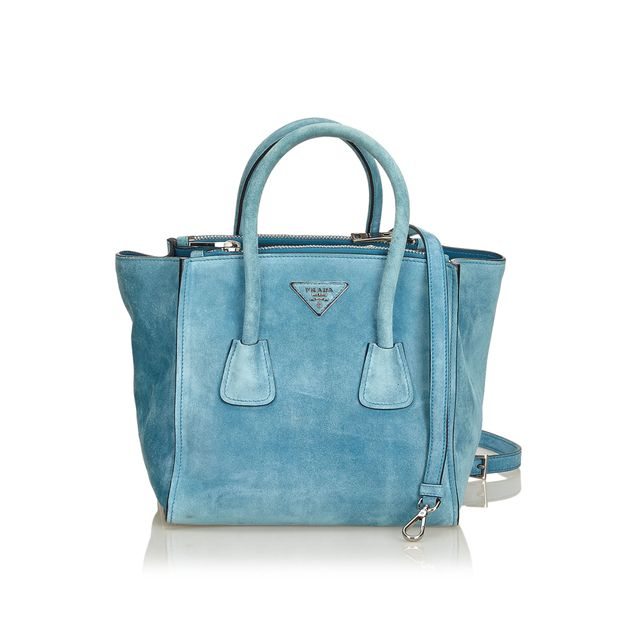d645991d6af Suede Twin Pocket Tote by PRADA   StyleTribute.com