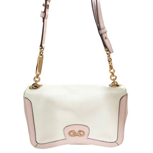 4cff1b28c271 SALVATORE FERRAGAMO Pink White Gold Chain Bag 0 thumbnail