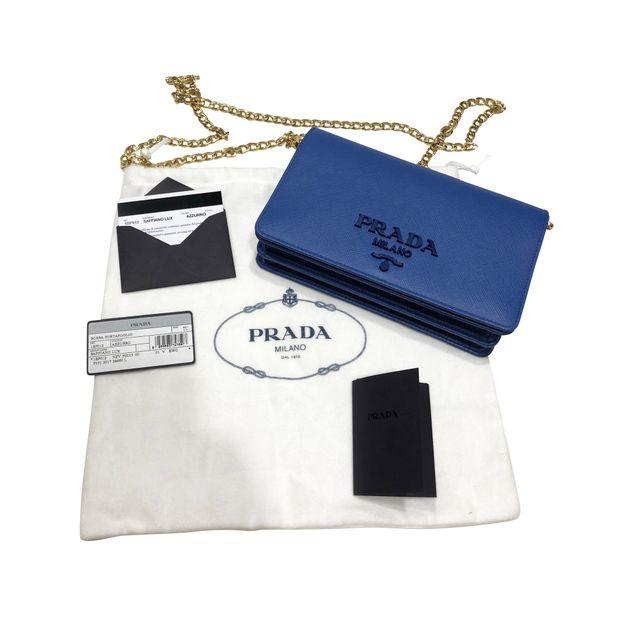 cea06dd8bc82 PRADA Saffiano Lux Wallet on Chain WOC Sling Bag Clutch Purse 2 thumbnail