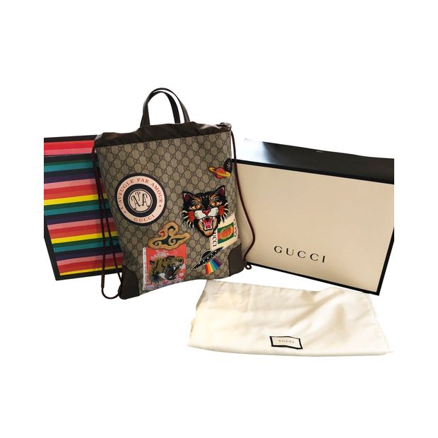 e7add1b74360e6 Courrier soft GG Supreme Drawstring backpack by GUCCI | StyleTribute.com