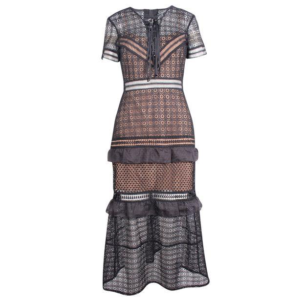 69778f98a04b Paneled guipure lace dress by SELF-PORTRAIT