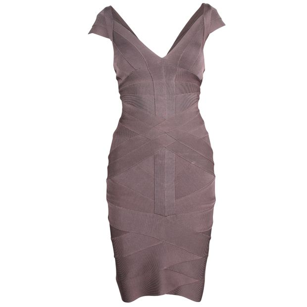 ccf17343c0f12 Grey Bodycon Dress by HERVE LEGER | StyleTribute.com