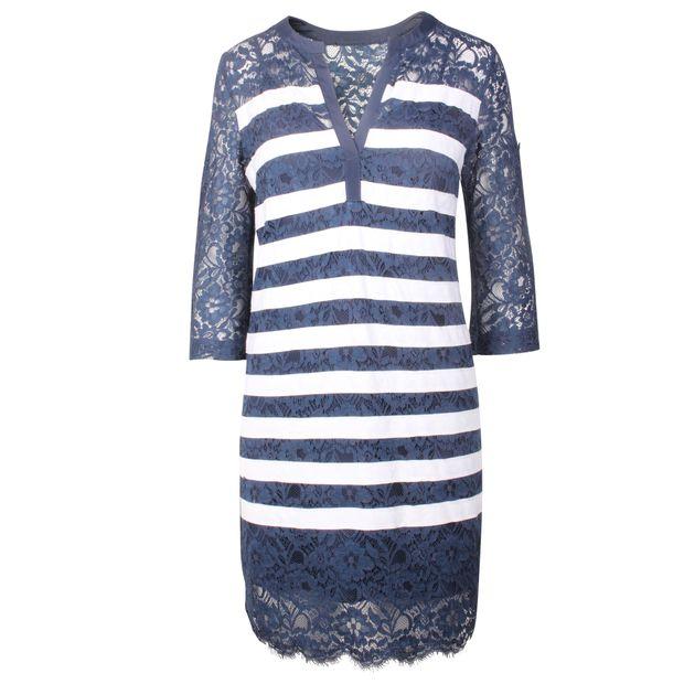 eb230b88adc BCBGMAXAZRIA Navy Stripes Lace Dress 0 thumbnail