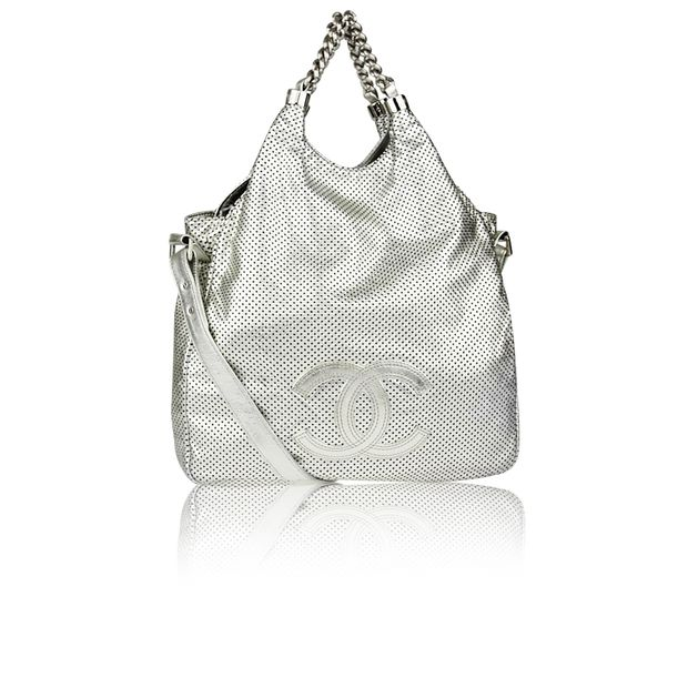 1cf6fbeeb7f5 CHANEL Limited Edition Silver Perforated Leather Rodeo Drive XL Tote Bag ...