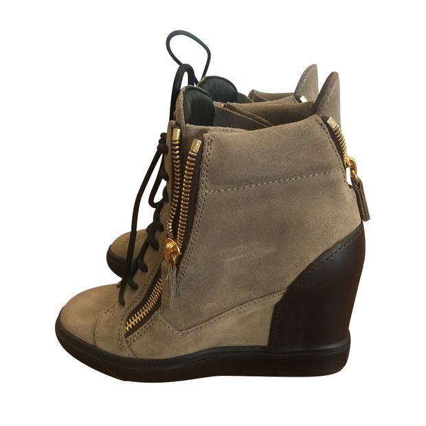 fdd420374bf8f Olive Green Zipper Wedge Sneakers by GIUSEPPE ZANOTTI   StyleTribute.com