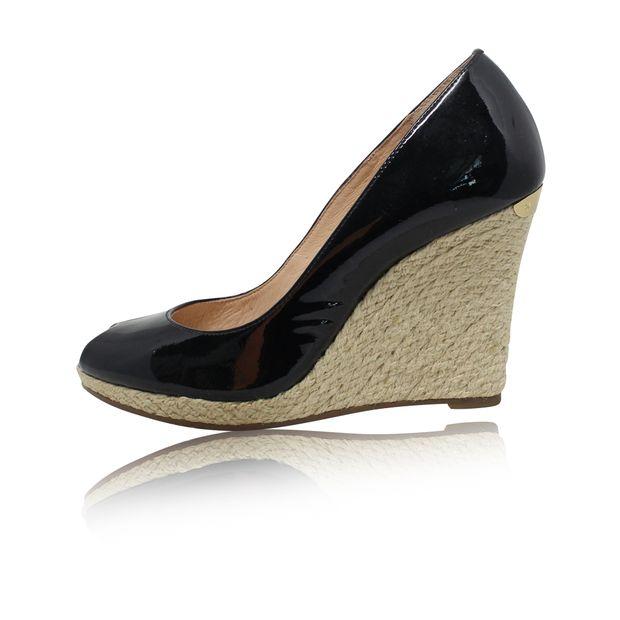 1be931628990 MICHAEL MICHAEL KORS Black Patent Leather Weave Peep Toe Wedges 0 thumbnail