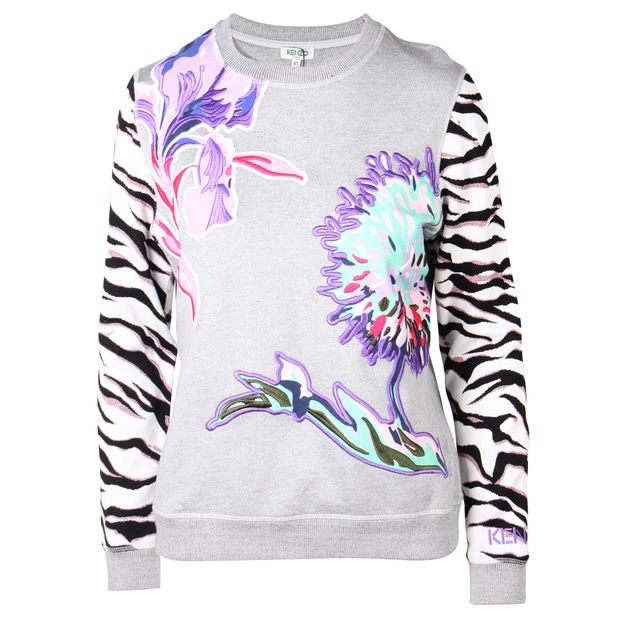 409c4e0b KENZO Grey Sweatshirt With Applique Flower and Animal Print Sleeve ...