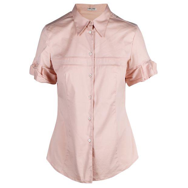 37863adbe0a8a Nude Short Sleeves Blouse by MIU MIU