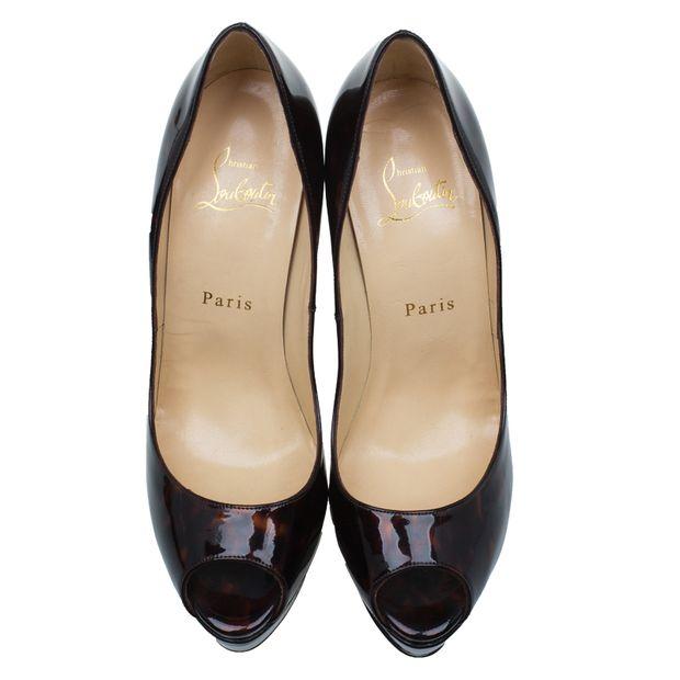 best sneakers b4c71 a7ccf Tortoise Patent Lady Peep Toe Platform Pumps