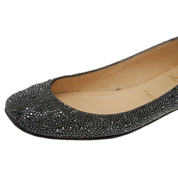 cbbed3cb572 Black Strass Leather Gozul Ballet Flats
