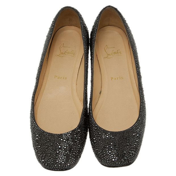 cbbed3cb572 Black Strass Leather Gozul Ballet Flats