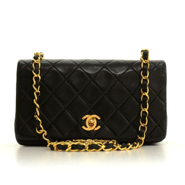 Vintage Black Quilted Leather Shoulder Flap Mini Bag by CHANEL ... 0af585a184b50